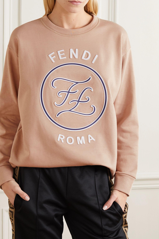 Fendi Karligraphy oversized printed embossed cotton-jersey sweatshirt