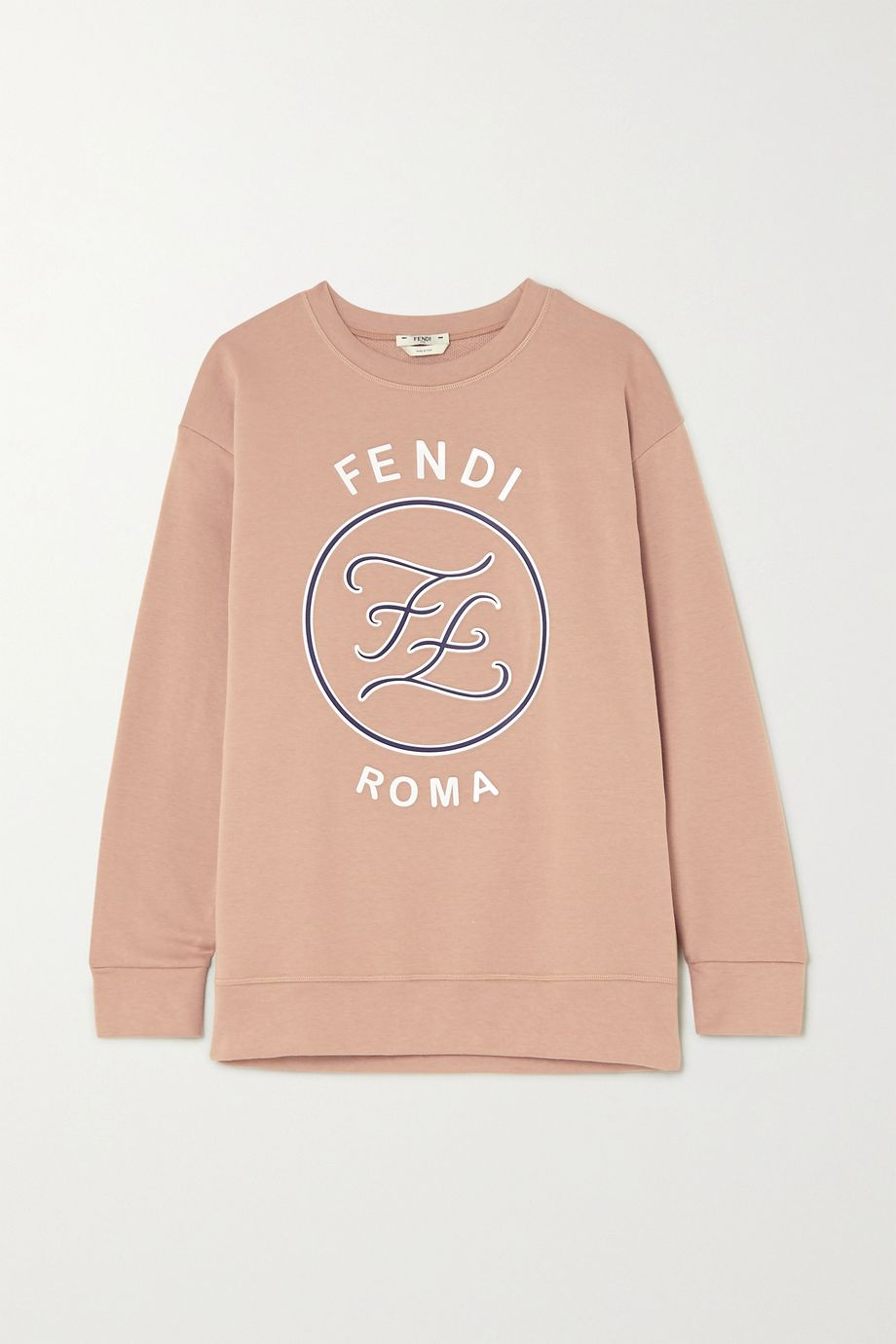 Fendi Karligraphy oversized printed embossed cotton-jersey sweatshirt