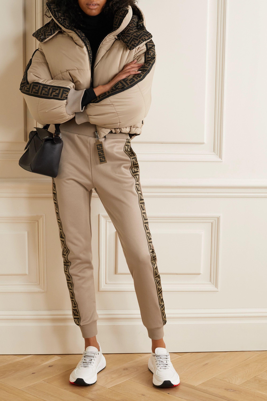 Fendi Jacquard-trimmed satin-jersey track pants