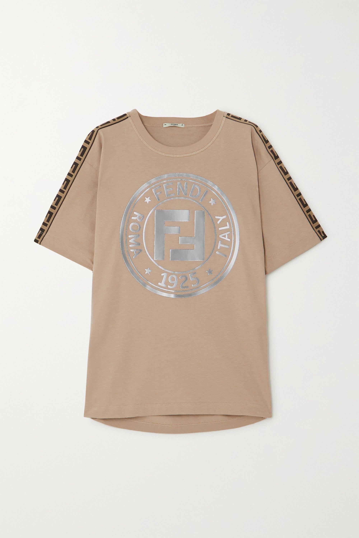 Fendi T-shirt en jersey de coton imprimé à finitions en jacquard Fendirama