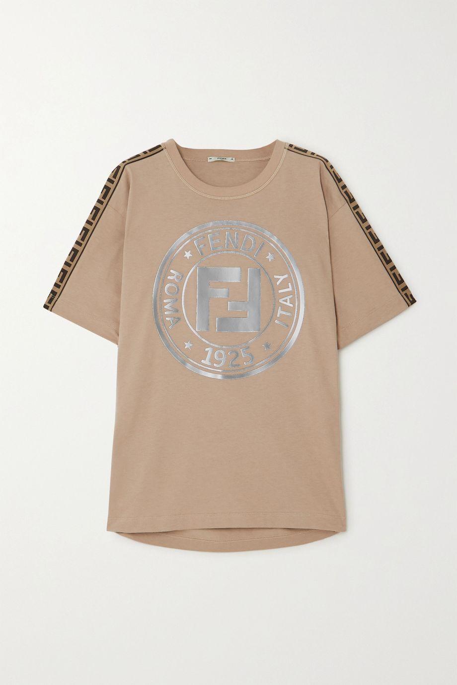 Fendi Fendirama jacquard-trimmed printed cotton-jersey T-shirt