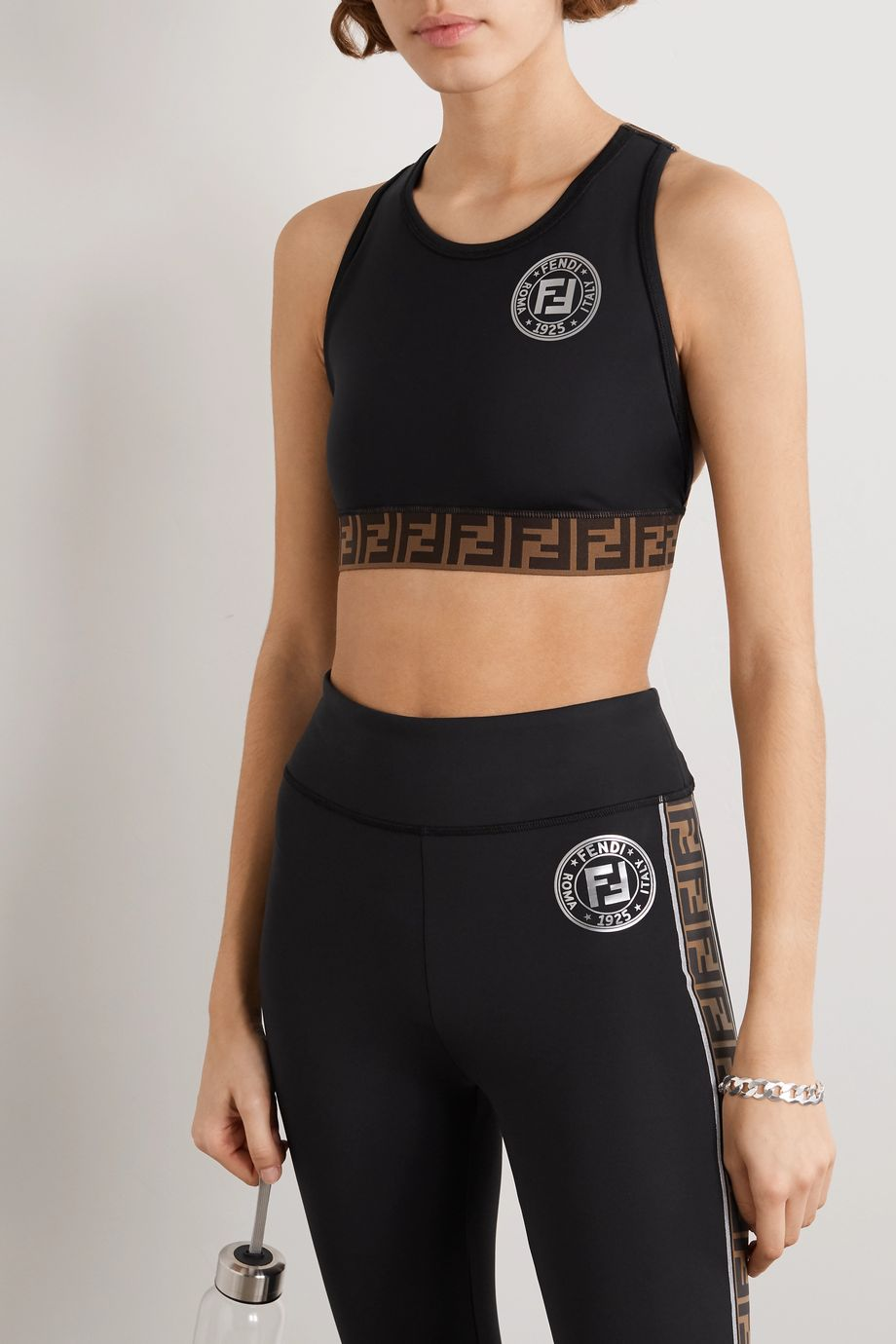 Fendi Printed stretch sports bra