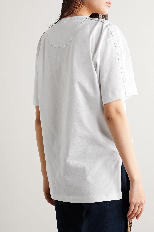 Fendi Fendirama oversized jacquard-trimmed printed cotton-jersey T-shirt