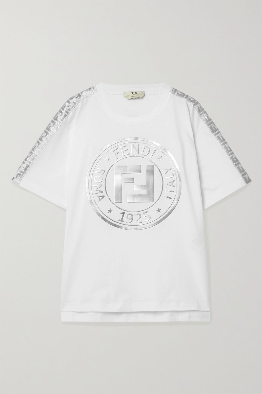 Fendi Fendirama oversized jacquard-trimmed printed cotton-jersey T-shirt