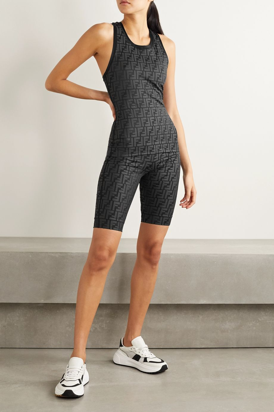 Fendi Mesh-trimmed stretch-jersey tank