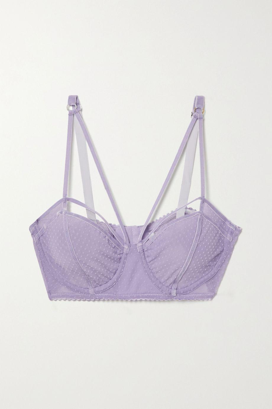 Lonely Gigi velvet-trimmed flocked stretch-tulle underwired soft-cup bra