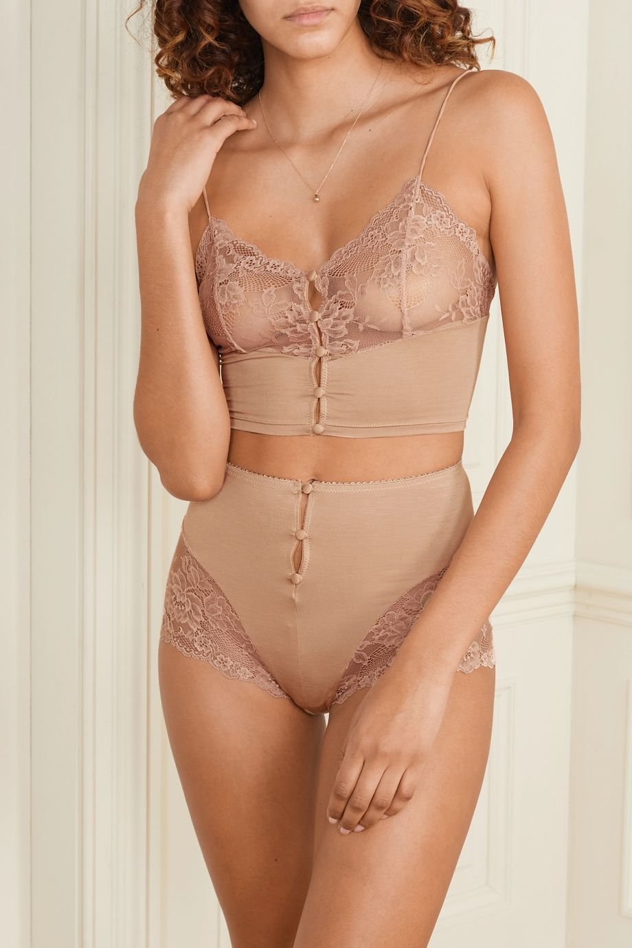 Lonely Hollie stretch-bamboo and lace soft-cup bralette