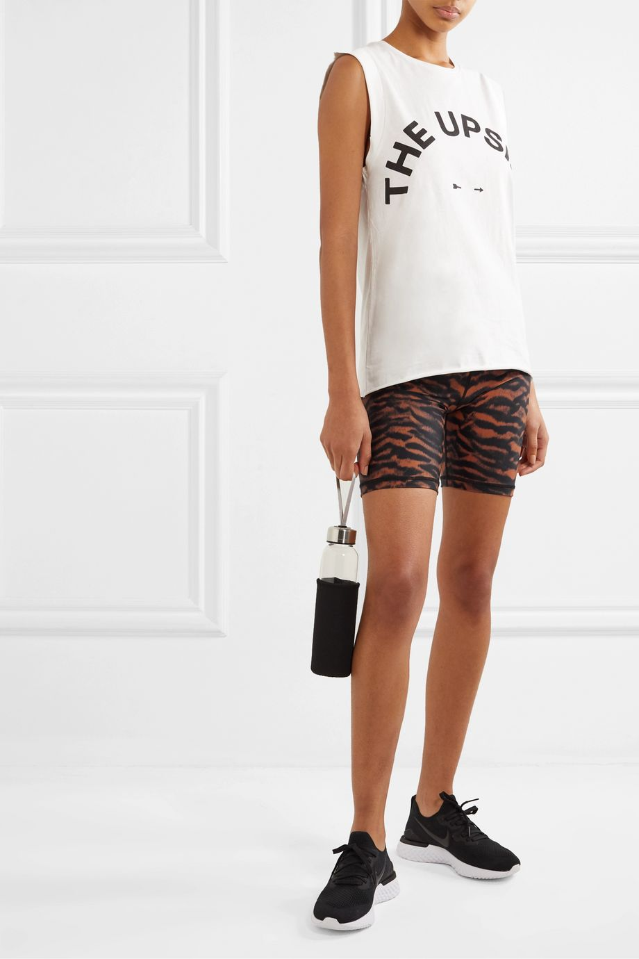 The Upside Tiger-print stretch shorts