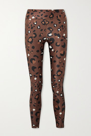 The Upside Cropped striped leopard-print stretch leggings