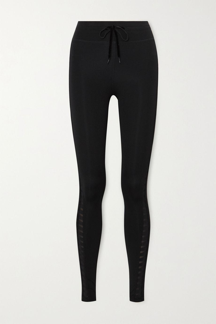 The Upside Velvet and mesh-trimmed stretch leggings