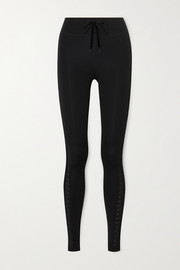 The Upside Velvet and mesh-trimmed stretch leggings