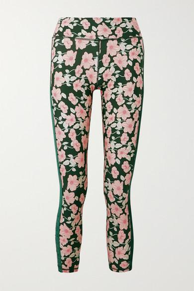 The Upside Pants Poppy velvet-trimmed floral-print stretch leggings