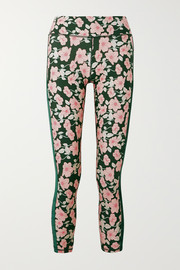 The Upside Poppy velvet-trimmed floral-print stretch leggings