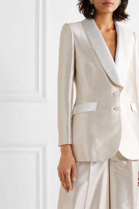 Silk satin-trimmed lamé blazer