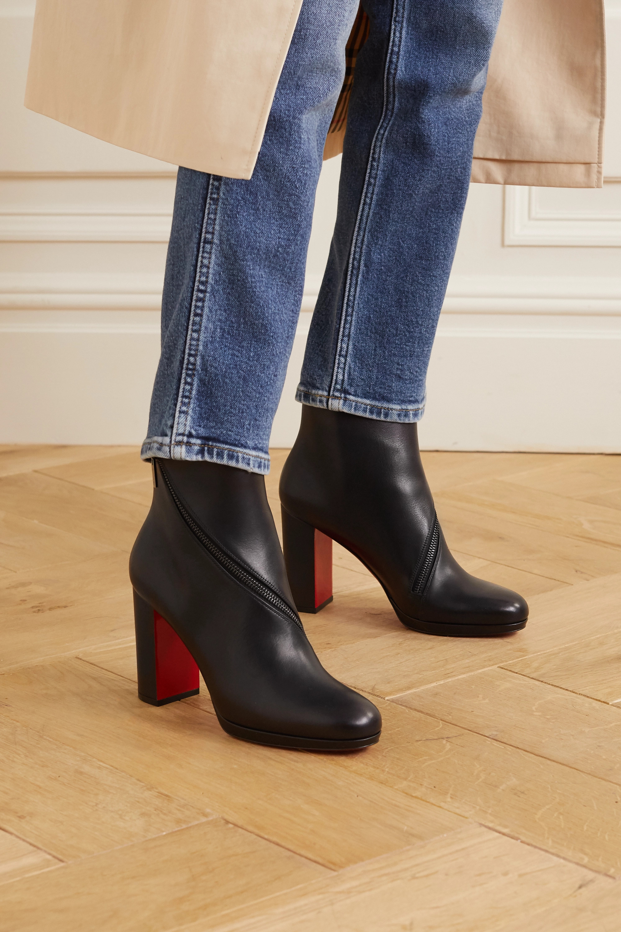 Christian Louboutin Birgitta 100 zip-detailed leather ankle boots