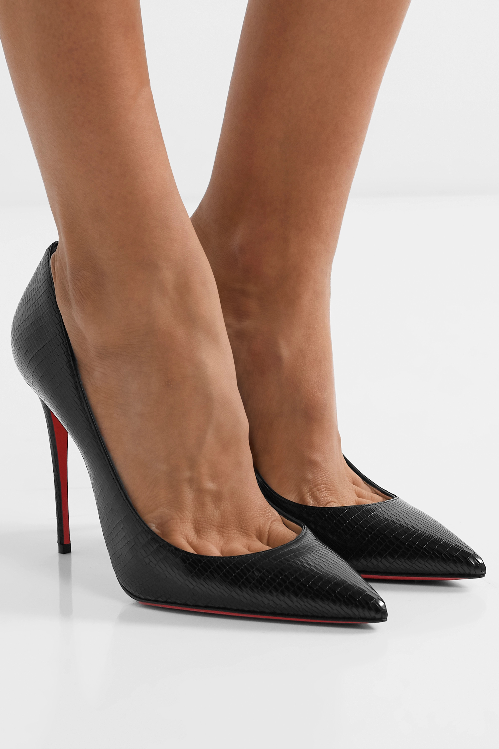 Christian Louboutin Kate 100 lizard-effect leather pumps
