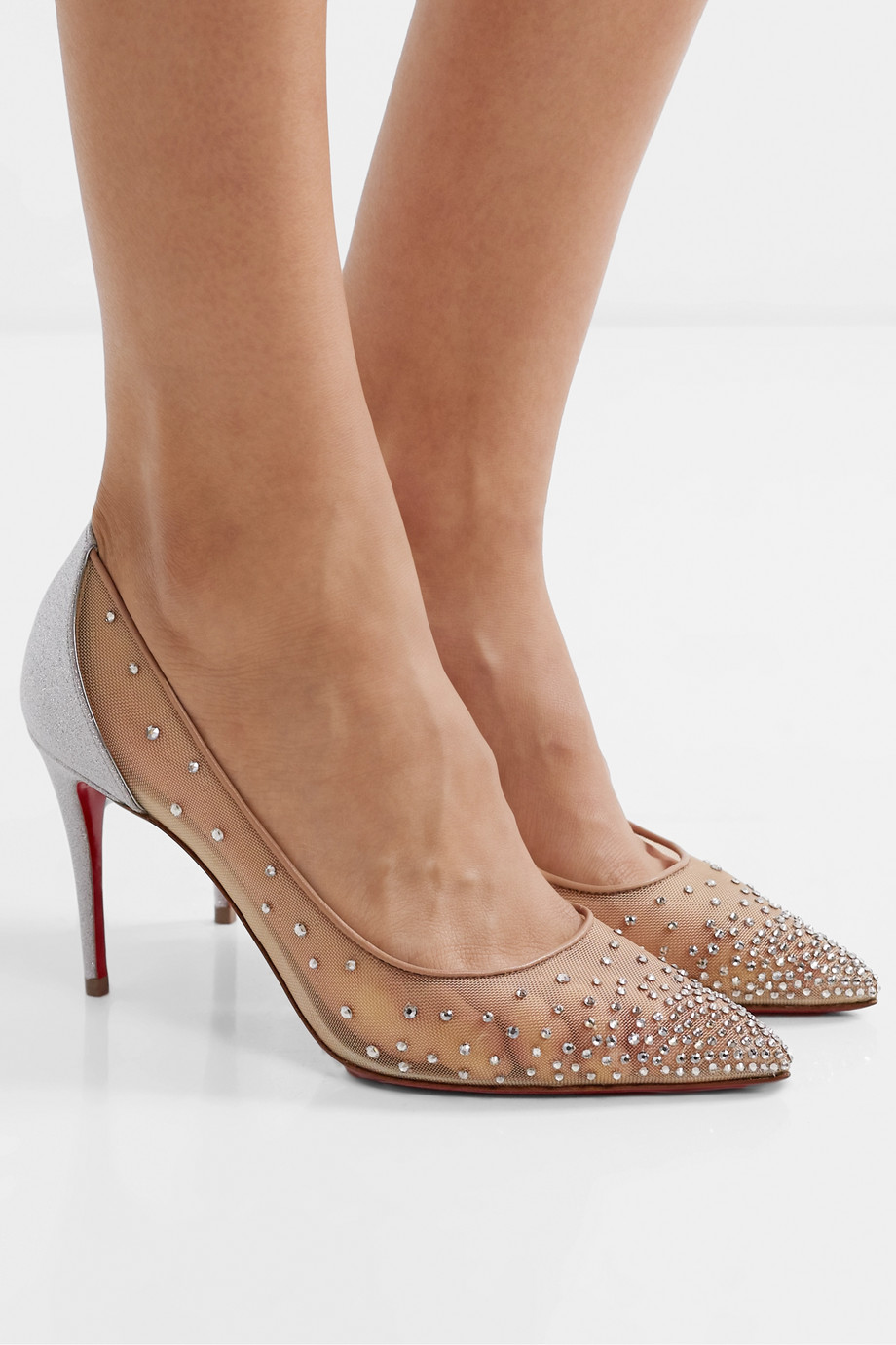 Christian Louboutin Follies 85 crystal-embellished mesh and glittered-leather pumps