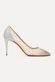 Follies 85 crystal-embellished mesh and glittered-leather pumps
