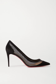 Christian Louboutin Galativi 85 suede and mesh pumps
