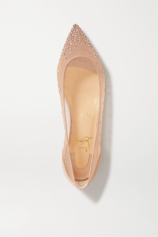 Christian Louboutin Follies 施华洛世奇水晶缀饰网布金属丝面料尖头平底鞋