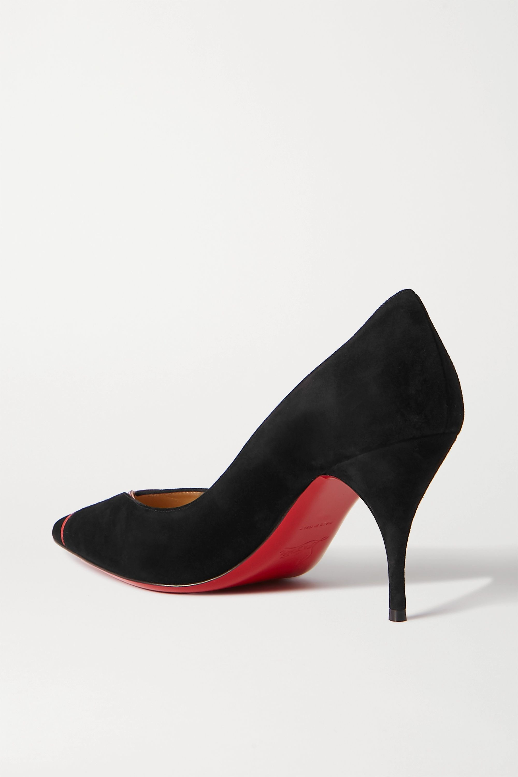 Christian Louboutin CL 80 patent leather-trimmed suede pumps