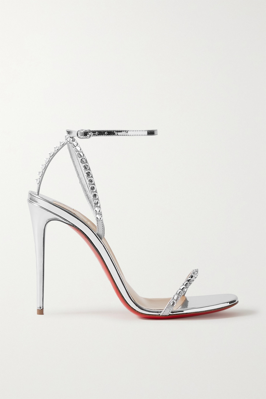 Christian Louboutin So You 100 Swarovski crystal-embellished mirrored-leather sandals