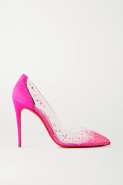 Christian Louboutin Degrastrass 105 Swarovski crystal-embellished PVC and suede pumps