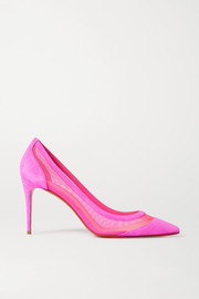 Christian Louboutin Galativi 85 neon suede and mesh pumps