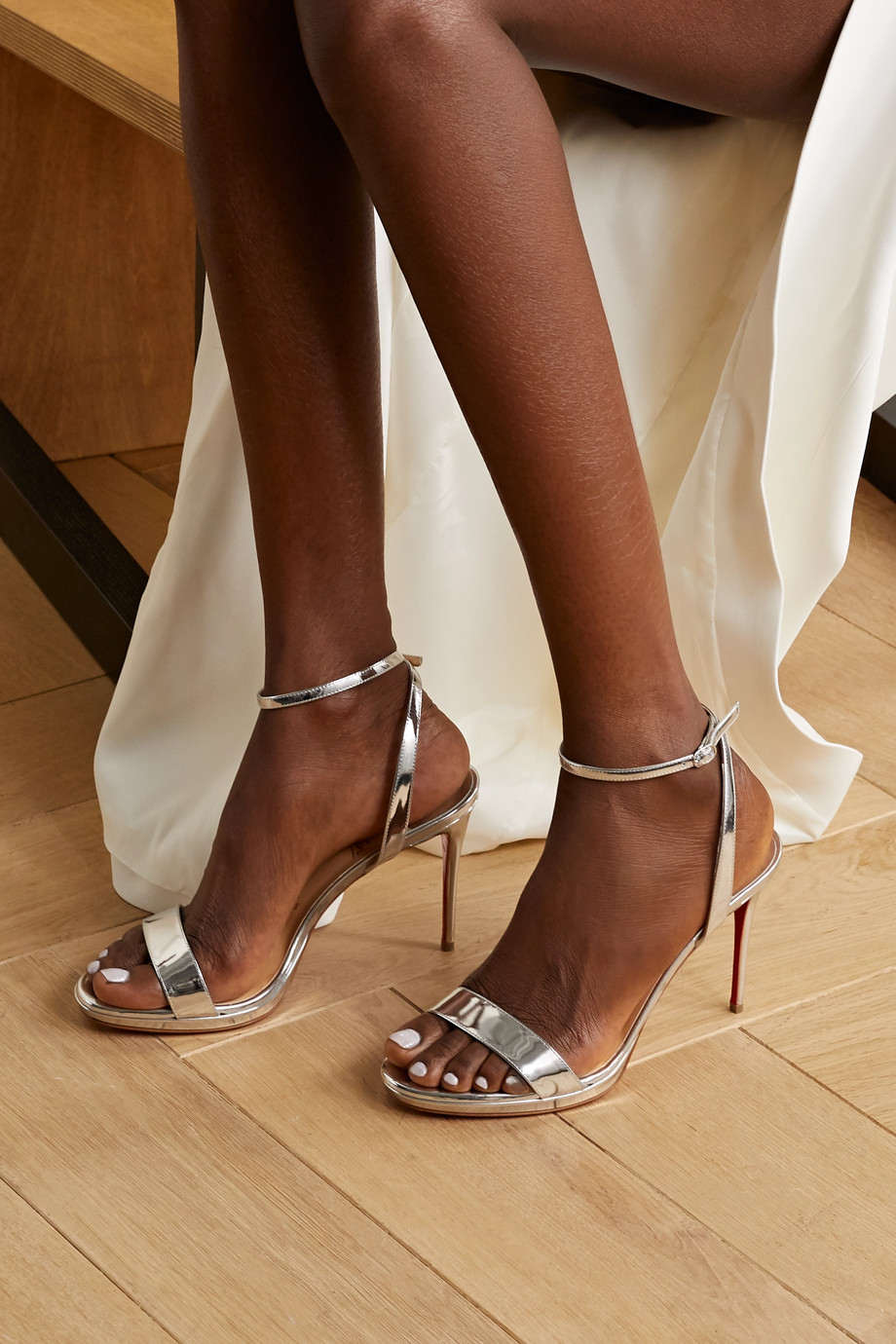 Christian Louboutin Loubi Queen 100 metallic patent-leather sandals