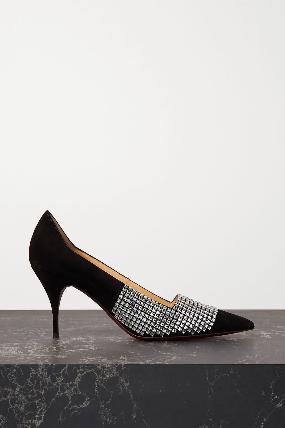 Christian Louboutin Championne Strass 80 crystal-embellished suede pumps