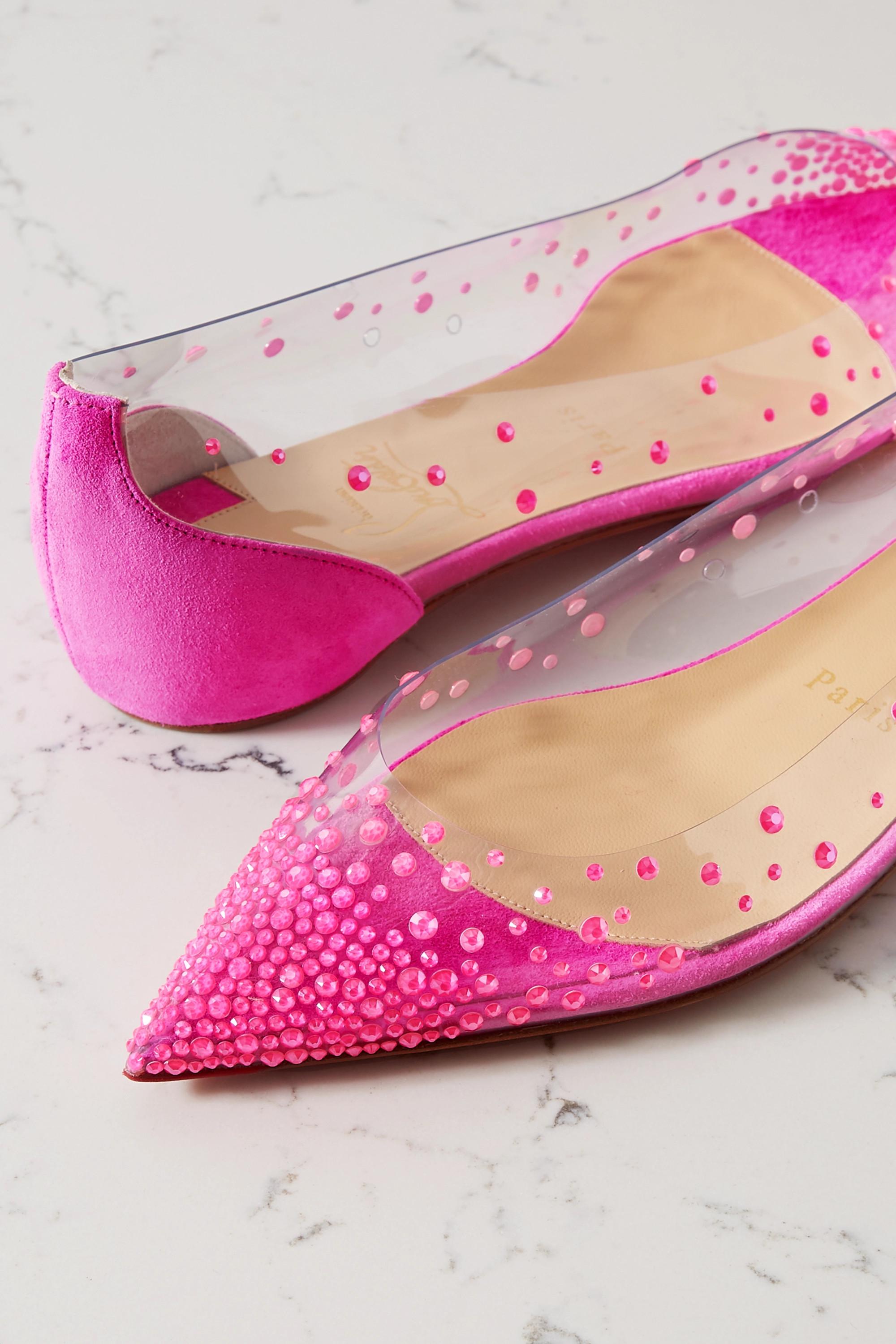 Christian Louboutin Chaussures plates à bouts pointus en PVC et en daim à ornements Degrastrass