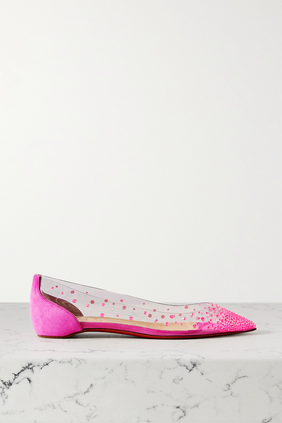 Christian Louboutin Degrastrass embellished PVC and suede point-toe flats