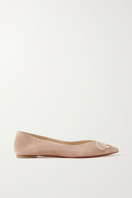 Sand CL crystal-embellished suede point-toe flats   Christian Louboutin hOPs2H