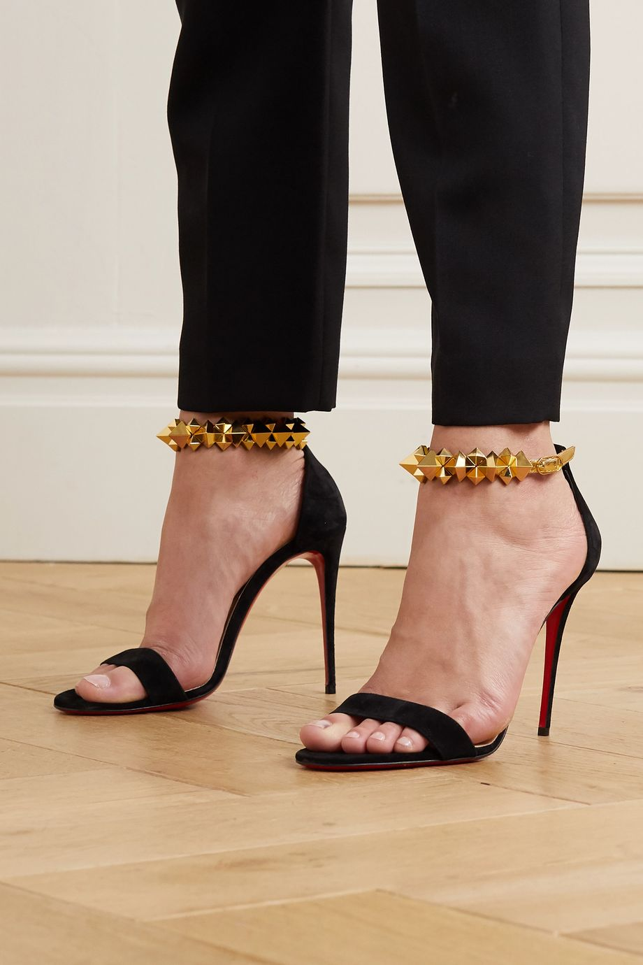 Christian Louboutin Planetava 100 studded suede and leather sandals