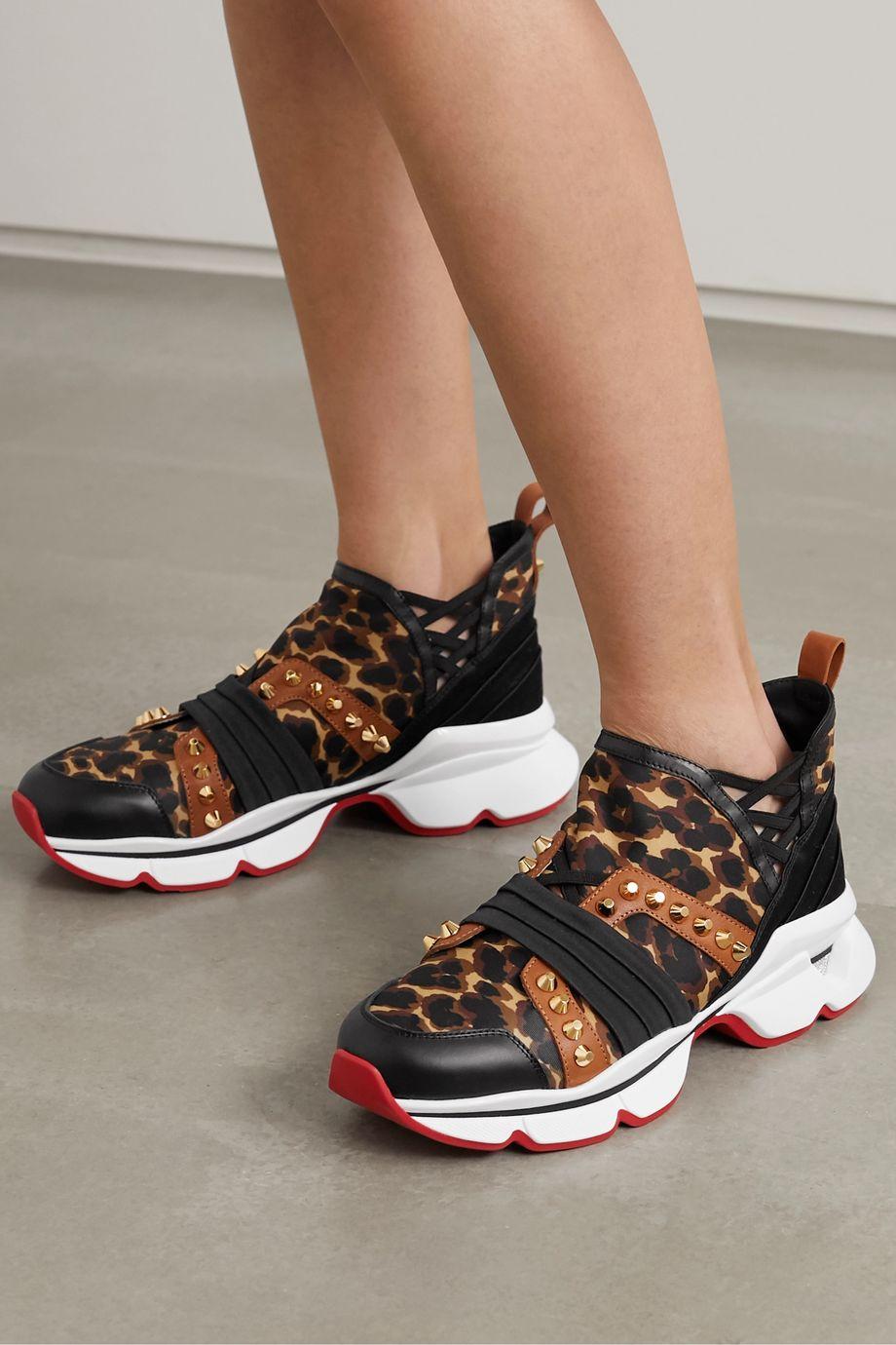 Christian Louboutin 123 Run spiked leopard-print neoprene, leather, satin and grosgrain sneakers