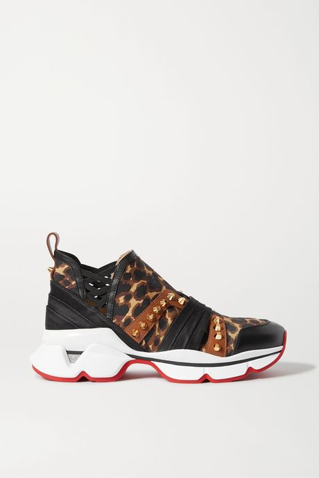 Leopard print 123 Run spiked leopard-print neoprene, leather, satin and grosgrain sneakers | Christian Louboutin yV31Y2