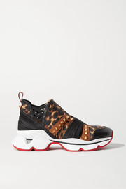 123 Run spiked leopard-print neoprene, leather, satin and grosgrain sneakers