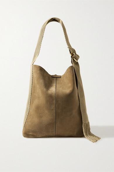 Isabel Marant Bakoo Canvas And Leather-trimmed Suede Shoulder Bag In Mushroom