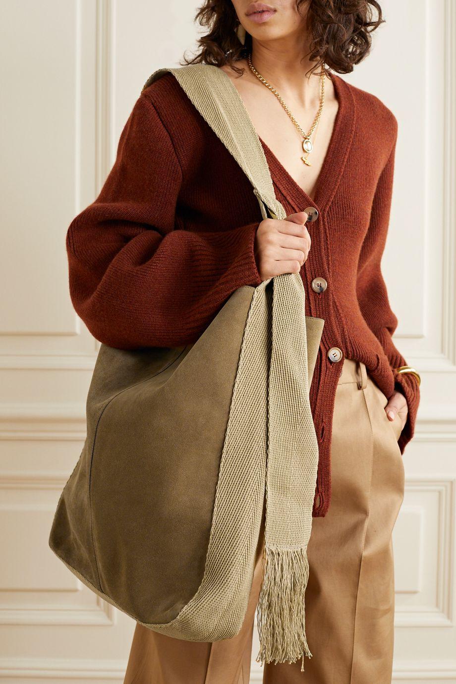 Isabel Marant Bakoo canvas and leather-trimmed suede shoulder bag