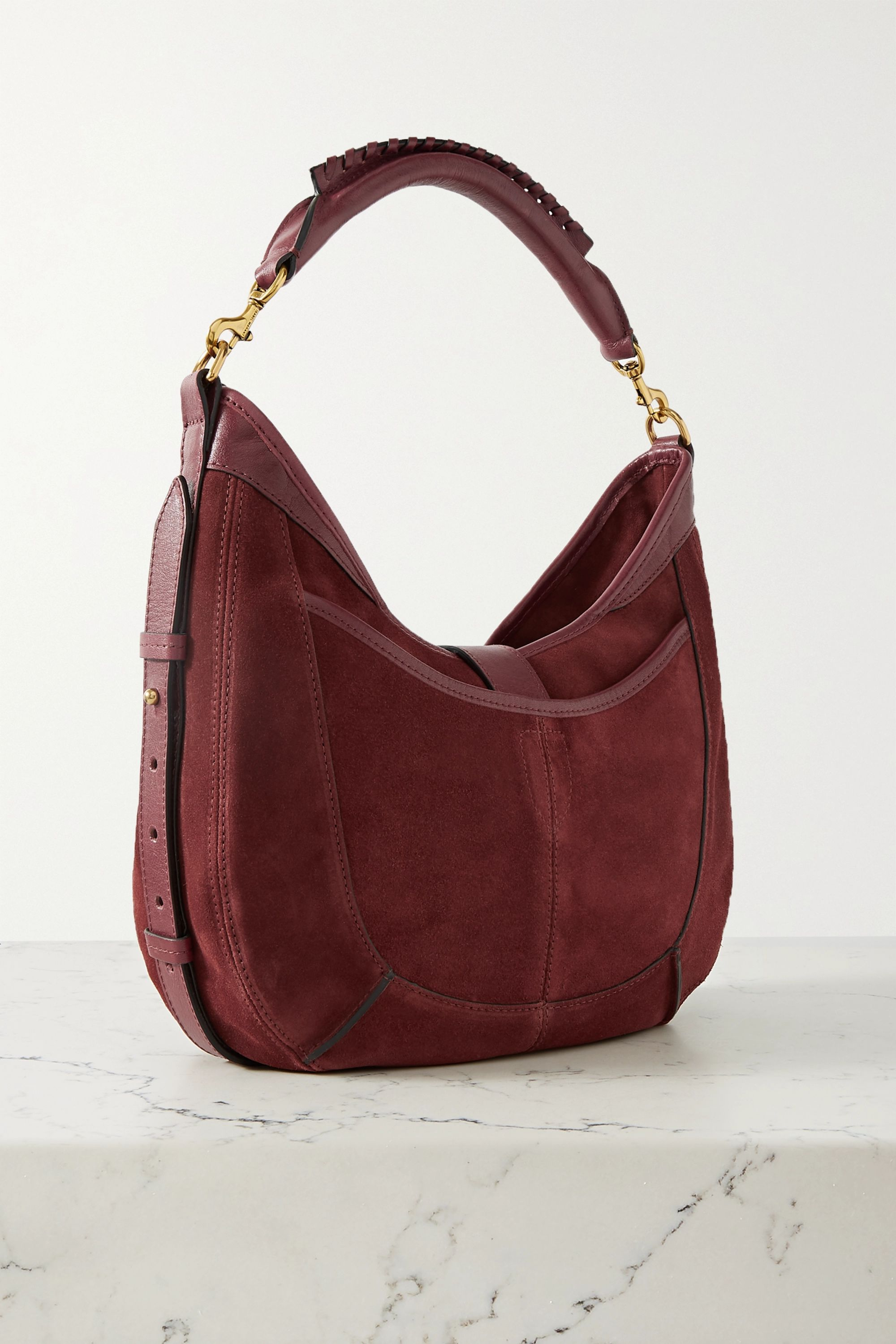 Isabel Marant Kaliko leather-trimmed suede shoulder bag