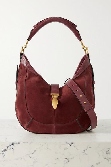 Isabel Marant Kaliko Leather-trimmed Suede Shoulder Bag In Claret