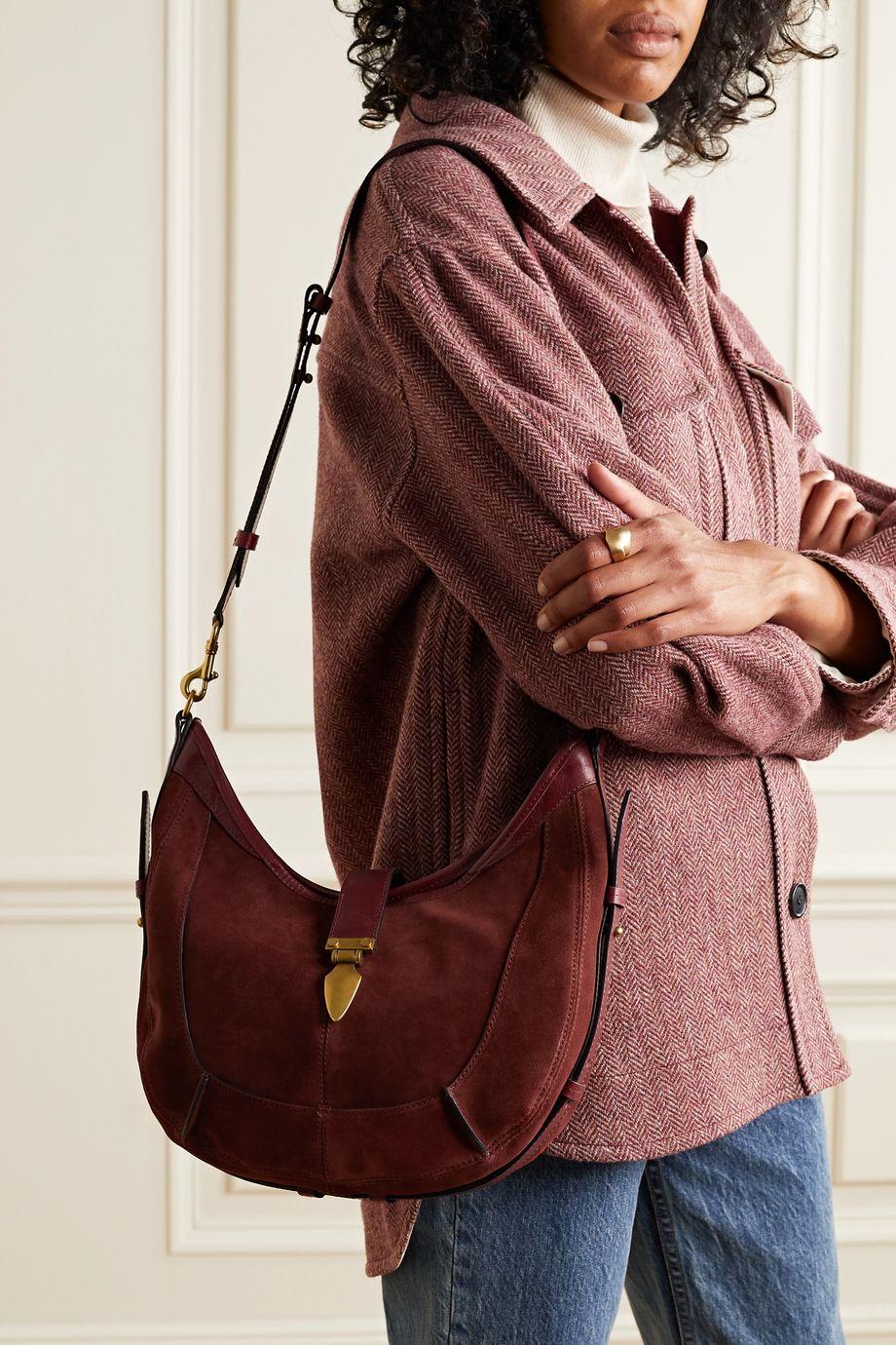 Isabel Marant Kaliko leather-trimmed suede shoulder bag