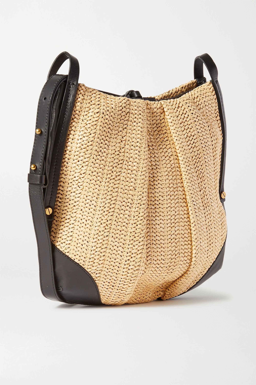 Isabel Marant Lecky leather-trimmed raffia shoulder bag