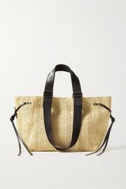 Isabel Marant Bagya leather and canvas-trimmed raffia tote