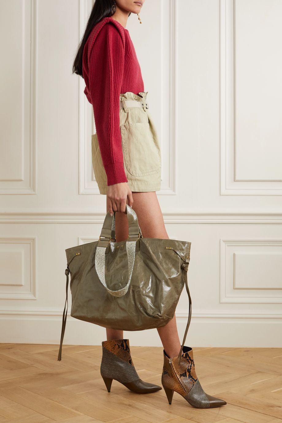 Isabel Marant Wardy canvas-trimmed crinkled-leather tote