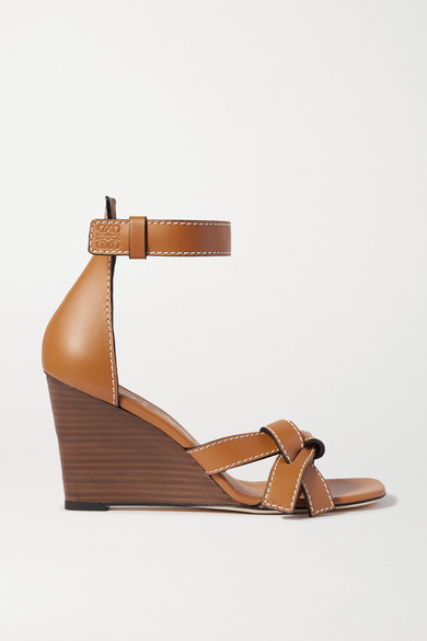 Loewe Gate Topstitched Leather Wedge Sandals In Tan