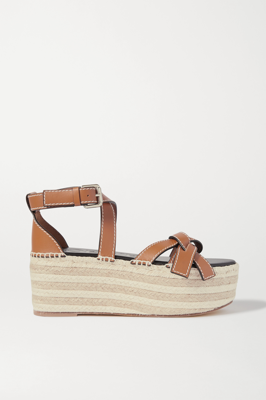 Loewe Gate topstitched leather espadrille platform sandals