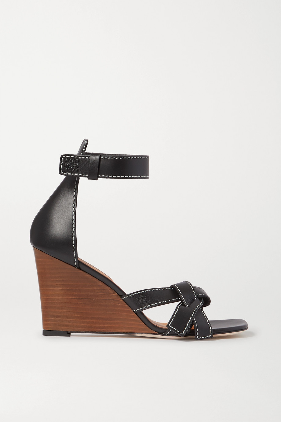 Loewe Gate topstitched leather wedge sandals