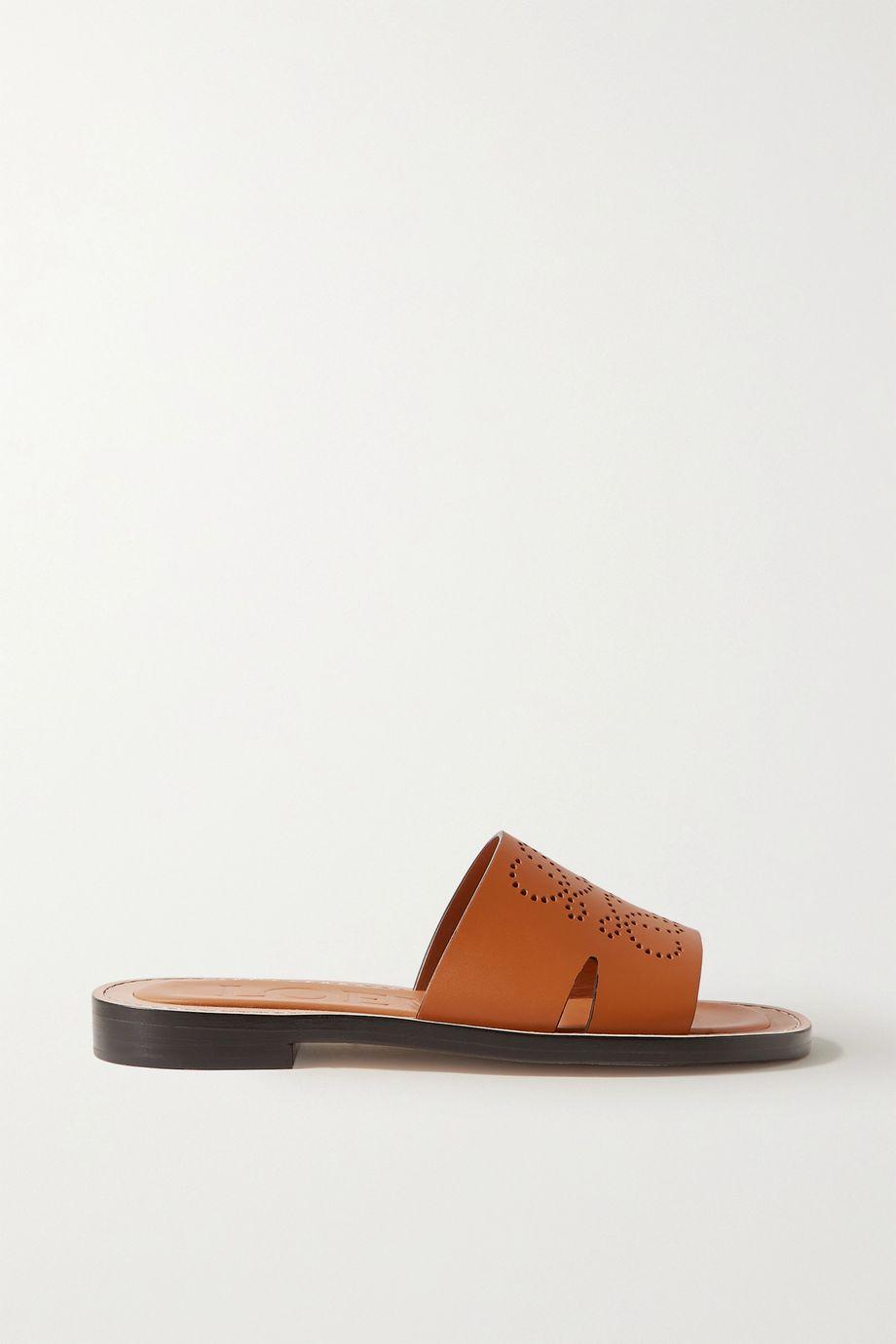 Loewe Logo-perforated leather slides
