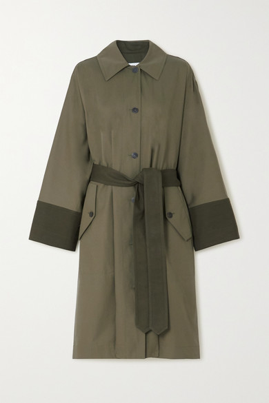 Loewe Belted Two-tone Cotton-gabardine And Canvas Trench Coat In Green